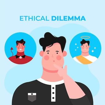 Ilustración de dilema ético con el hombre eligiendo entre el bien y el mal