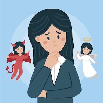 Ilustración de dilema ético con mujer eligiendo entre el bien y el mal