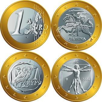 Ilustración dinero moneda de oro un euro