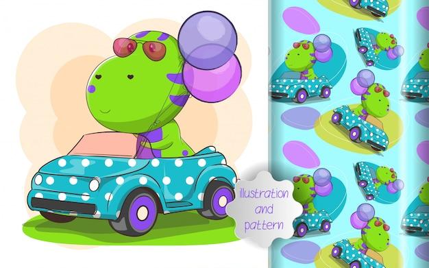 Ilustración de dino lindo montar un coche y patrón