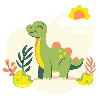 Ilustración de dinosaurio bebé plano