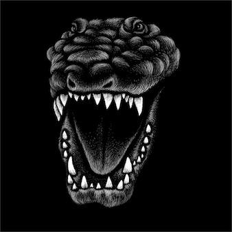 Ilustración de dinosaurio blanco y negro