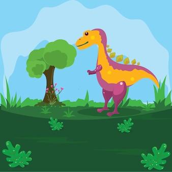 Ilustración de un dinosaurio en una tierra verde con un fondo de cielo azul