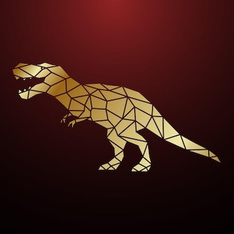 Ilustración de dinosaurio tyrannosaurus geométrico dorado