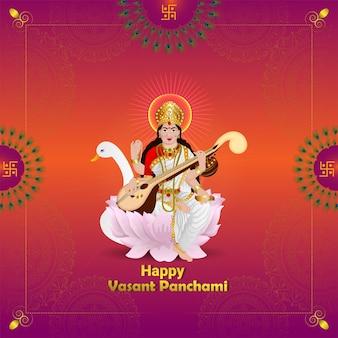 Ilustración para la diosa saraswati, happy vasant panchami y fondo