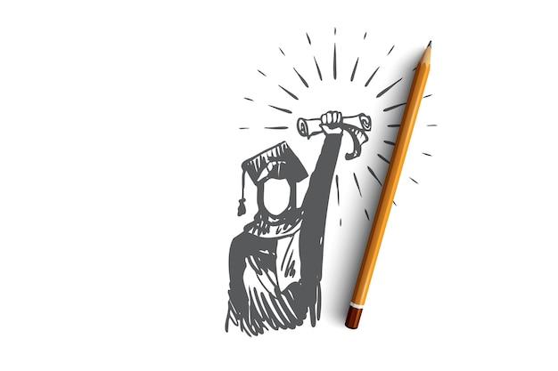 Ilustración de diploma en dibujado a mano