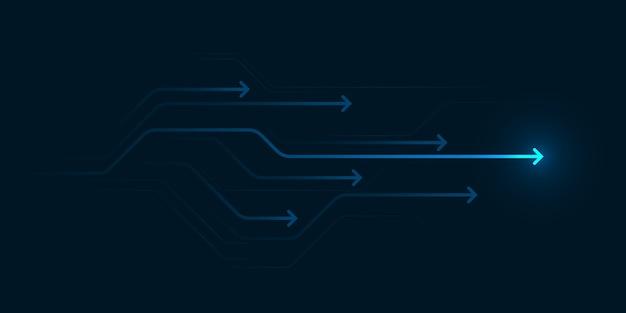 Ilustración de dirección de flecha abstracta diseño plano espacio de copia concepto de velocidad de líder empresarial