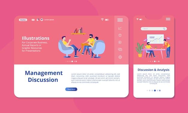 Ilustración de discusión y análisis en la pantalla para visualización web o móvil.