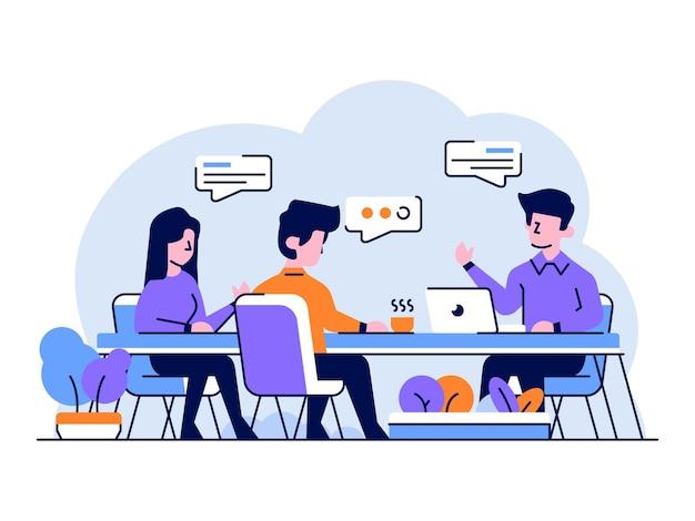 Ilustración discusión del equipo de negocios y finanzas de la reunión