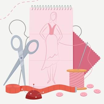 Ilustración de diseñador de moda dibujado a mano plana