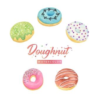 Ilustración de diseño de acuarela de donut