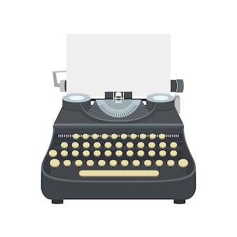Ilustración de diseño aislado de máquina de escribir. antigua máquina de escribir anique