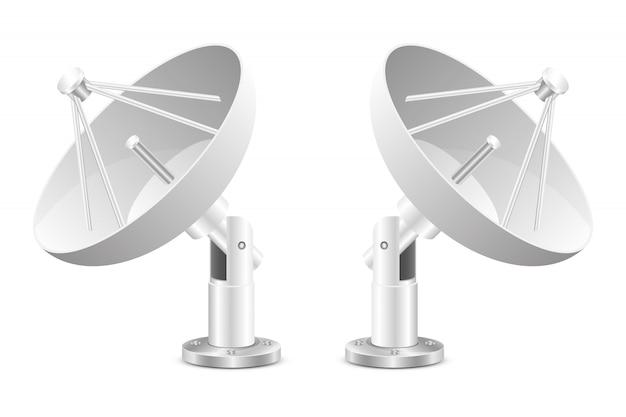 Ilustración de diseño de antena parabólica aislada sobre fondo blanco
