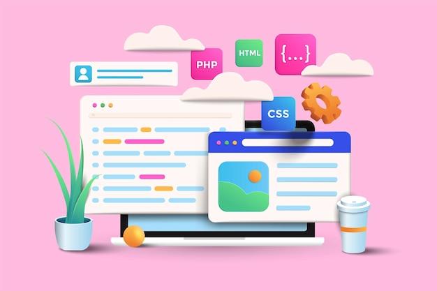 Ilustración de diseño de aplicaciones y desarrollo web sobre fondo rosa