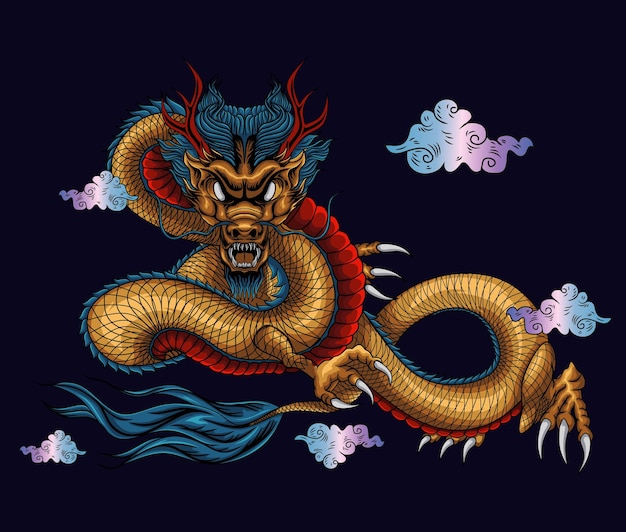 Ilustración de diseño de arte asiático de dragón