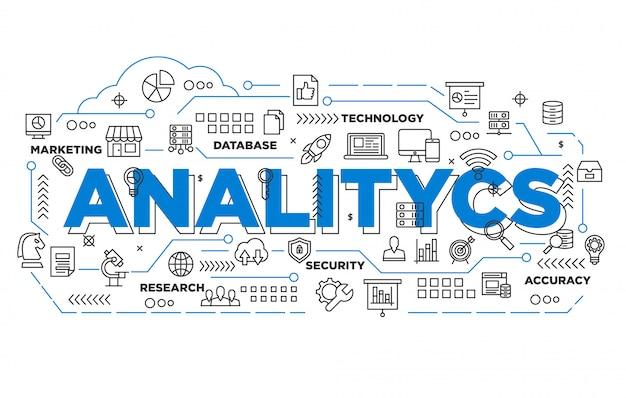 Ilustración de diseño de banner analítico con estilo icónico