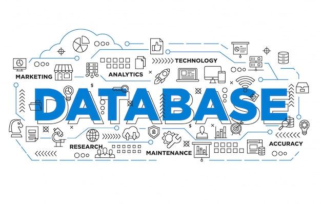 Ilustración de diseño de banner de base de datos con estilo icónico