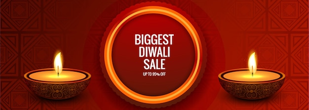 Ilustración de diseño de banner creativo de venta de diwali más grande
