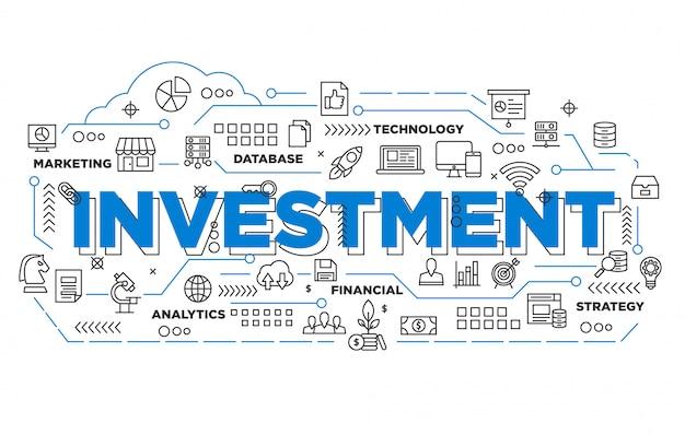 Ilustración de diseño de banner de inversión con estilo icónico