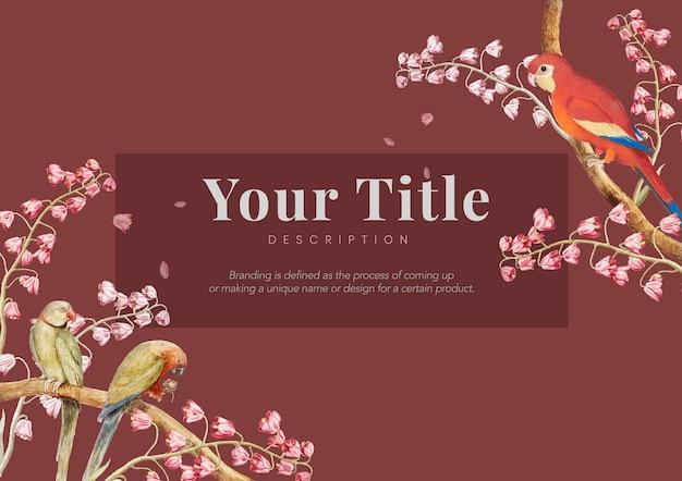 Ilustración de diseño de banner de pájaros y flores vintage