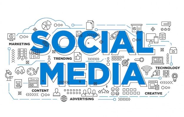 Ilustración de diseño de banner de redes sociales con estilo icónico