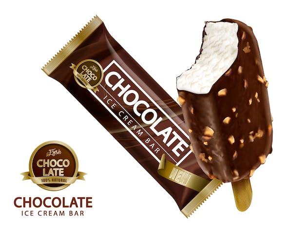Ilustración de diseño de barra de helado de chocolate