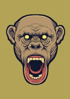 Ilustración de diseño de cabeza de chimpancé.