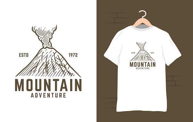 Ilustración de diseño de camiseta de aventura de montaña