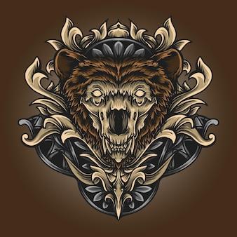 Ilustración y diseño de camiseta cráneo oso grabado ornamento