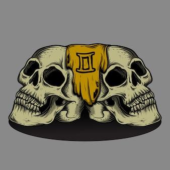 Ilustración y diseño de camiseta géminis cráneo zodiaco