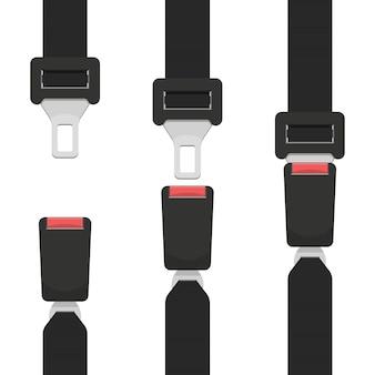 Ilustración de diseño de cinturón de seguridad aislado sobre fondo blanco.