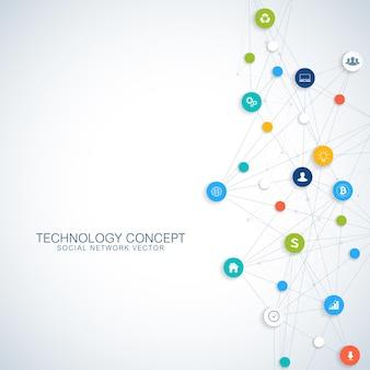Ilustración de diseño de concepto de conexiones de red global y computación en la nube
