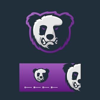 Ilustración de diseño de concepto de logotipo de panda enojado