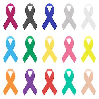 Ilustración de diseño de conjunto de cinta de cáncer aislado sobre fondo blanco