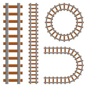 Ilustración de diseño de conjunto de ferrocarril aislado sobre fondo blanco