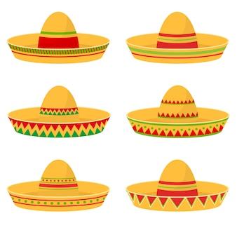 Ilustración de diseño de conjunto de sombrero mexicano aislado sobre fondo blanco