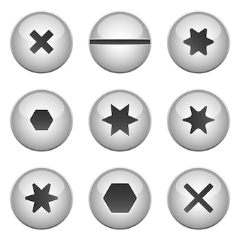 Ilustración de diseño de conjunto de tornillo aislado sobre fondo blanco