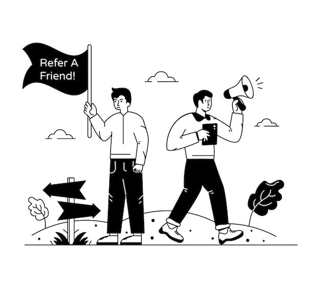 Una ilustración de diseño creativo de recomendar a un amigo.