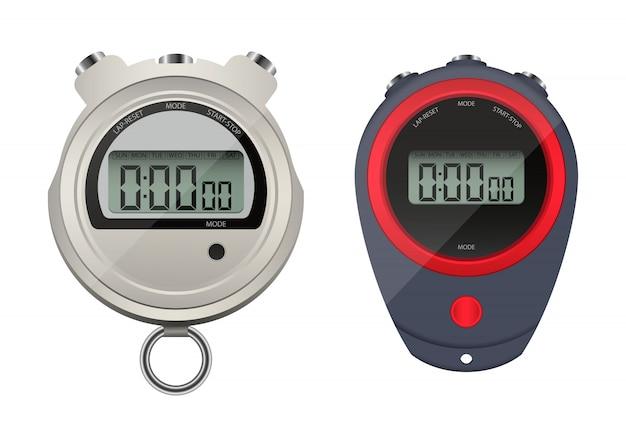 Ilustración de diseño de cronómetro digital aislado sobre fondo blanco.
