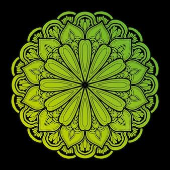 Ilustración de diseño de decoración de arte mandala. con un degradado de verde claro y oscuro muy natural.