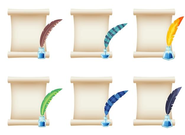 Ilustración de diseño de desplazamiento de papel aislado sobre fondo blanco