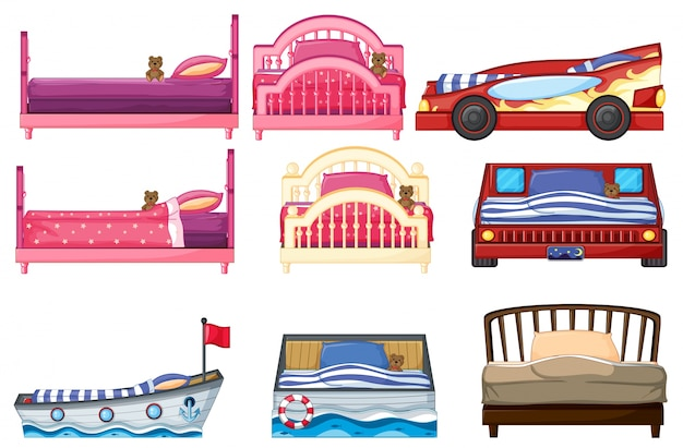 Ilustración del diseño de diferentes camas