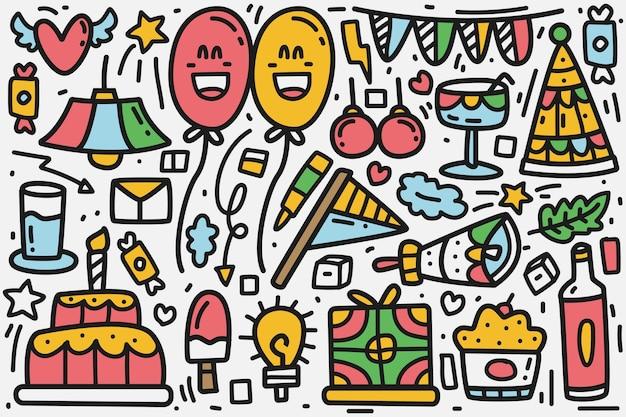 Ilustración de diseño de doodle de dibujos animados de cumpleaños