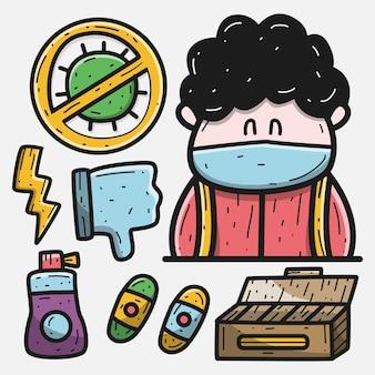 Ilustración de diseño de doodle de dibujos animados de kawaii de protección antivirus