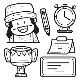 Ilustración de diseño de doodle de dibujos animados kawaii
