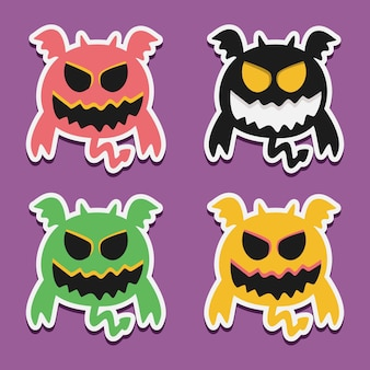 Ilustración de diseño de doodle de monstruo de dibujos animados kawaii