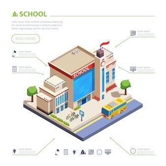 Ilustración de diseño de edificio de escuela