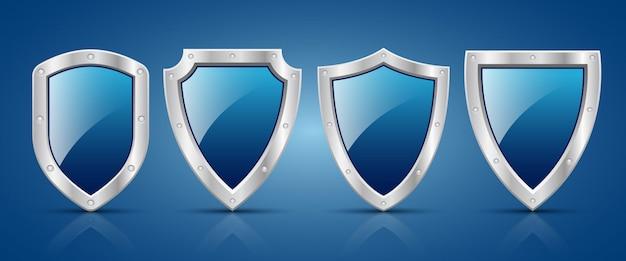 Ilustración de diseño de escudo metálico de protección aislado