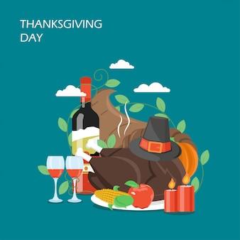 Ilustración de diseño de estilo plano del día de acción de gracias