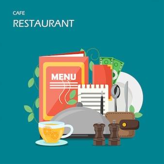 Ilustración de diseño de estilo plano de servicios de restaurante